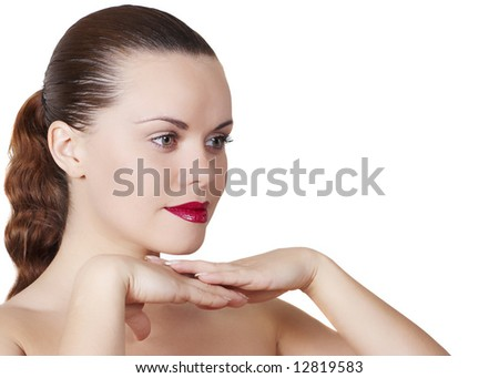 Beautiful young woman with make-up on  face - stock photo