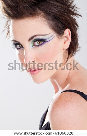 beautiful young woman with makeup, studio shot