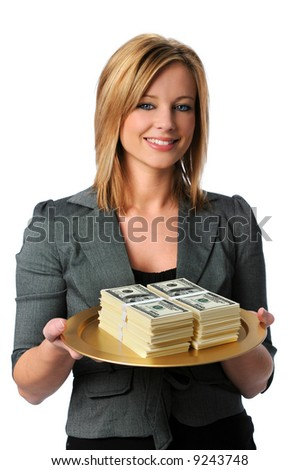Beautiful young woman with money on a platter - stock photo