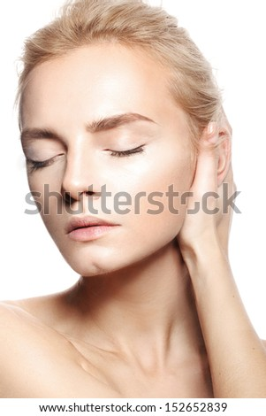 Beautiful young woman with natural nude make-up  fashion, perfect skin - stock photo
