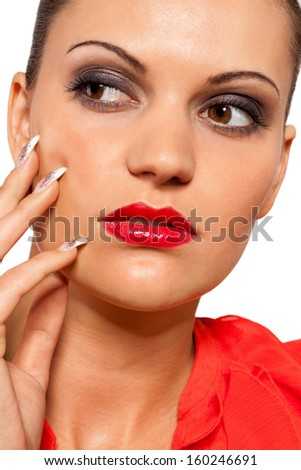 beautiful young woman with perfect skin and soft make up isolated on white - stock photo