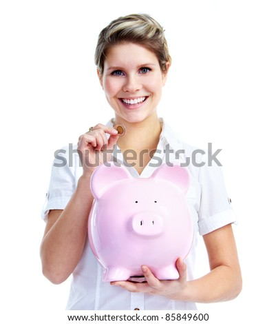 Beautiful young woman with piggy bank. Isolated over white background