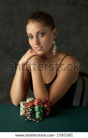 Beautiful Young Woman with Poker Chips - stock photo