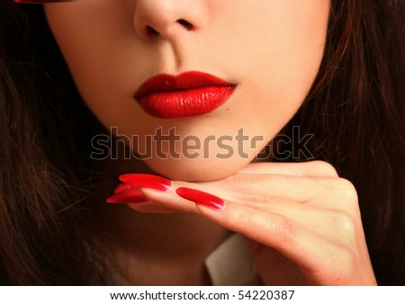 beautiful young woman with red lips - stock photo