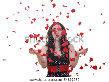 beautiful young woman with rose flower petals isolated on white representing beauty concept - stock photo