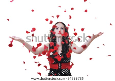beautiful young woman with rose flower petals isolated on white representing beauty concept