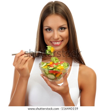 beautiful young woman with  salad, isolated on white - stock photo