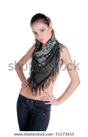 Beautiful young woman with scarf isolated on white