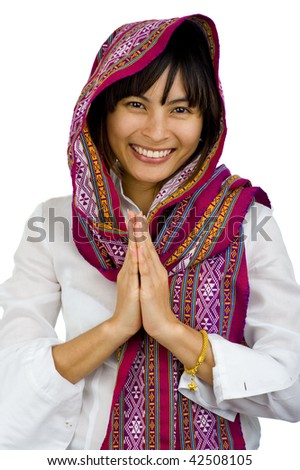 beautiful young woman with scarf over her head, isolated on white - stock photo
