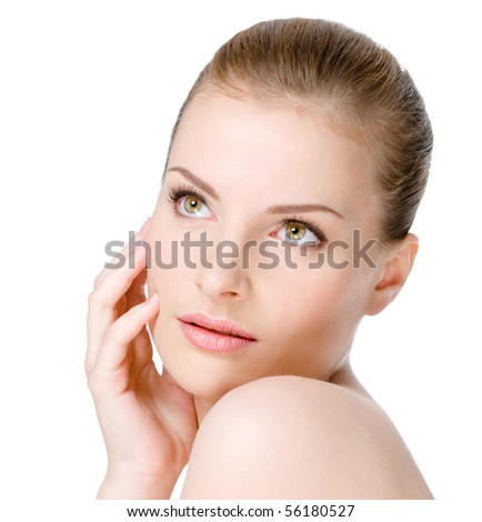 Beautiful young woman with sensuality expression on a clean fresh face - isolated on white - stock photo