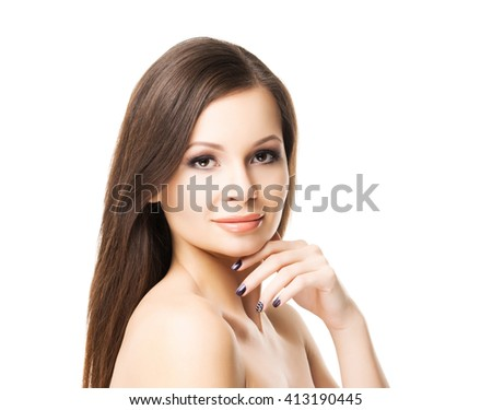Beautiful young woman with smooth skin. Spa portrait isolated on white