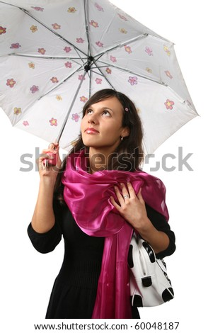 Beautiful young woman with umbrella against white background - stock photo