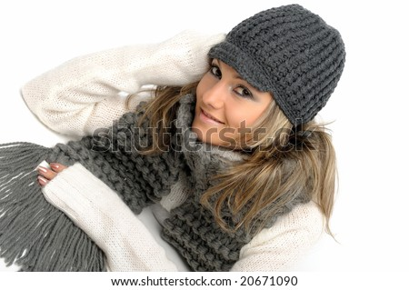 beautiful young woman with winter clothes - stock photo