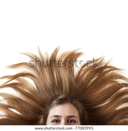beautiful young woman with wonderful hair - stock photo