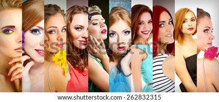 Beautiful young women in collage