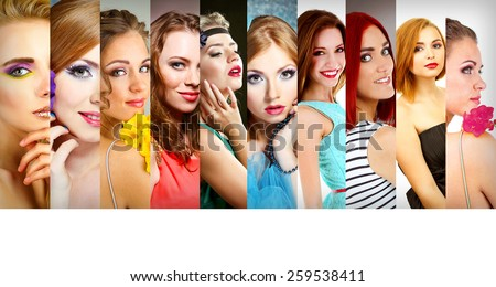 Beautiful young women in collage and space for your text