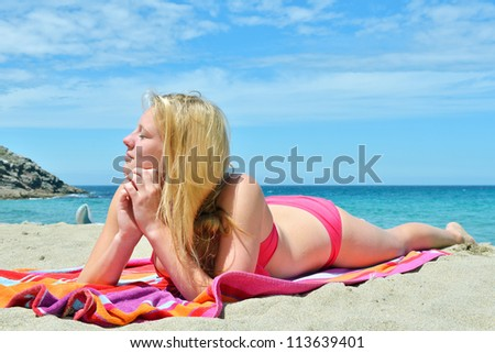 Beautiful young women on the beach