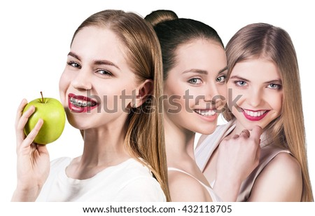 Beautiful young women with healthy smile - stock photo