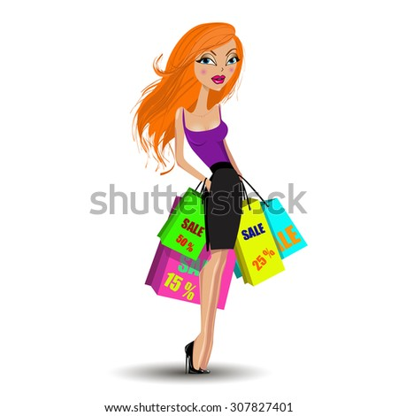 Beautiful young women with shopping bags over white background - stock photo