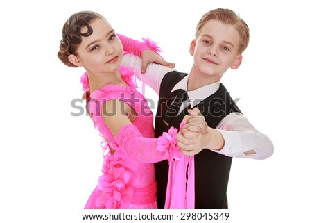 Beautiful youth dance couple, the children speak at the event , close-up-Isolated on white - stock photo