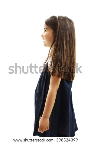 Beautiful youth girl looking on copy space. Isolated on white background - stock photo