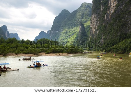 Beautiful Yu Long river Karst mountain landscape in Yangshuo  - stock photo