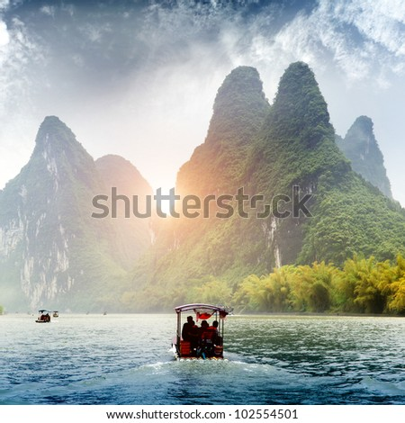 Beautiful Yu Long river Karst mountain landscape in Yangshuo Guilin, China - stock photo