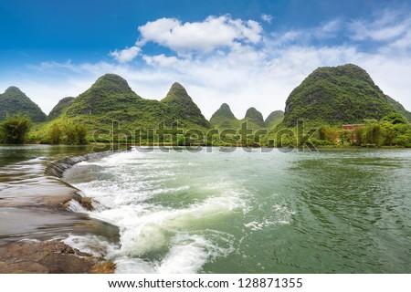 beautiful yulong river landscape,one pastoral scenery in yangshuo,China - stock photo