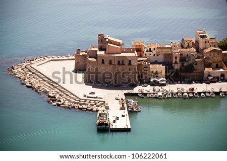 Beautiful zoomed view to Castellamare del Golfo city in Sicily, Italy - stock photo