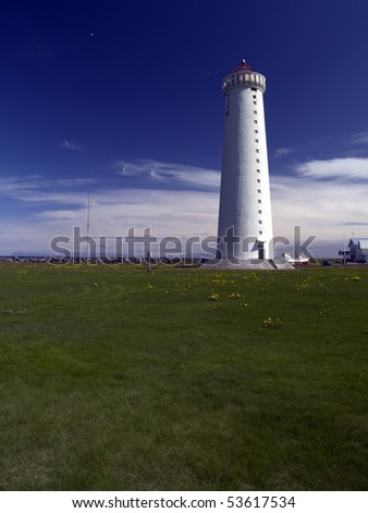 beautifull lighthouse in Iceland - stock photo