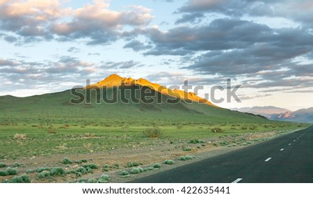Beautifull mongolian landscape in the sunset - stock photo