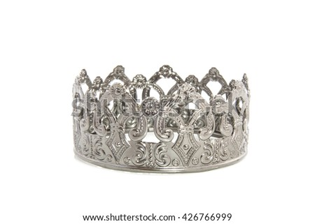 Beautifull silver decorated crown isolated over white - stock photo