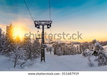 Beautifull sunset in ski center of Vogel, Triglav natural park, Julian Alps, Slovenia, Europe. - stock photo
