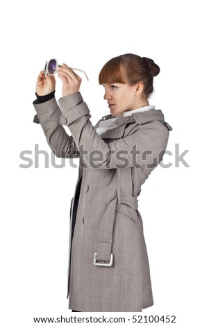 Beautifull woman with glasses - stock photo