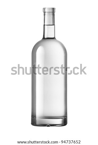 Beautifully Clear Lit Wine Bottle With Path - stock photo