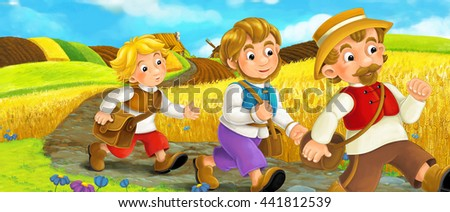 Beautifully colored scene with cartoon characters - old man standing and talking or greeting someone - windmill in the background - illustration for children - stock photo