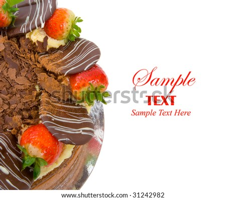 Beautifully decorated chocolate celebration cake over white background with copy space for text. - stock photo