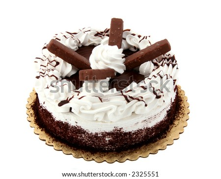 Beautifully decorated chocolate holiday cake with chocolate drizzled on it - stock photo