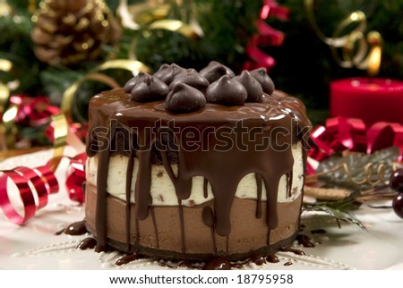 Beautifully decorated Christmas setting with gourmet desert - stock photo