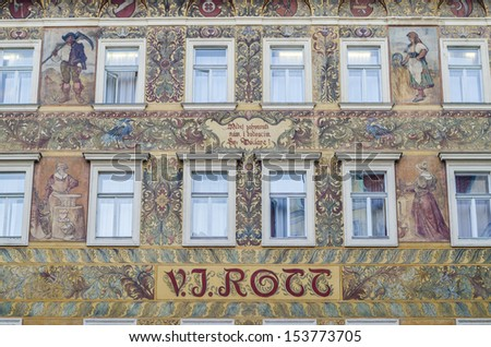 beautifully decorated facade, Prague, Czech Republic - stock photo