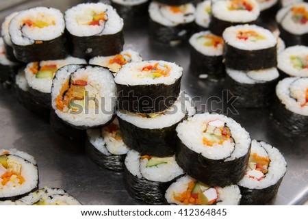 Beautifully decorated sushi on a plate sushi sushi sushi sushi sushi sushi sushi sushi sushi sushi sushi sushi sushi sushi sushi sushi sushi sushi sushi sushi sushi sushi sushi sushi sushi sushi sushi - stock photo