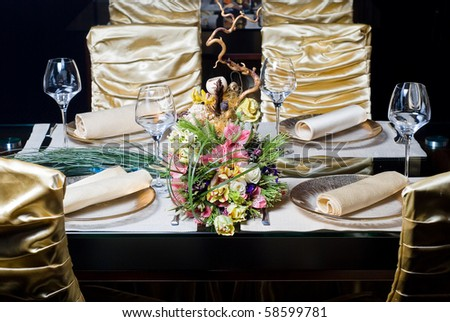 beautifully decorated table in the restaurant - stock photo