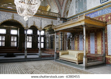 Beautifully decorated vintage audience hall of Sultan at Topkapi palace in Istanbul - stock photo