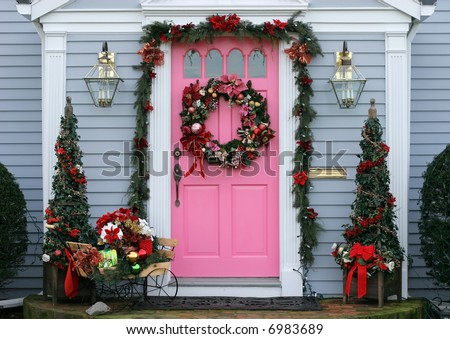 beautifully house entrance decorated for christmas holidays - stock photo