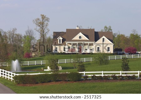 Beautifully landscaped country home in springtime