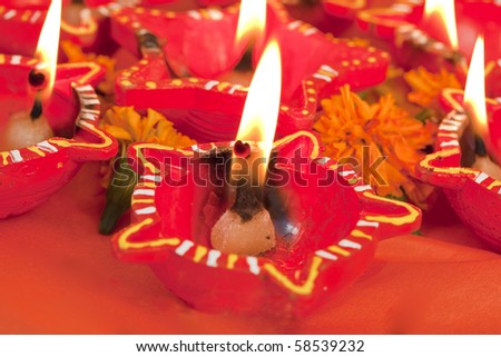 Beautifully Lit Lamps for the Hindu Diwali festival