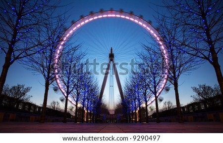 Beautifully Lit London Eye At Dusk - stock photo