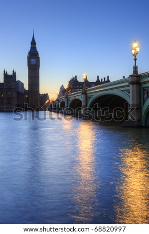 Beautifully lit night cityscape including London landmarks on long exposure - stock photo