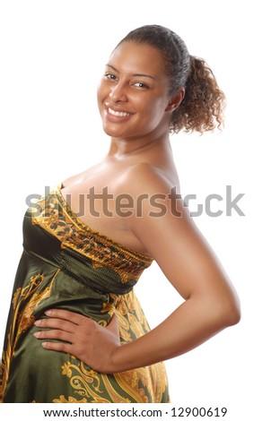 Beautifully natural model with great skin--no makeup at all! - stock photo