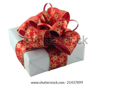 Beautifully packed gift box isolated on white